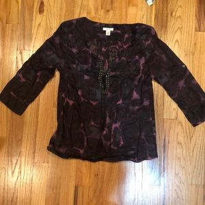 Purple and black Jcrew peasant top